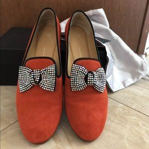 Giuseppe Zanotti red embellished loafer